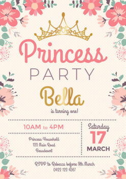 Princess Flower Party Invitation