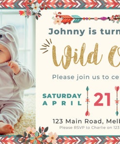 Boho Wild One Birthday Invitation