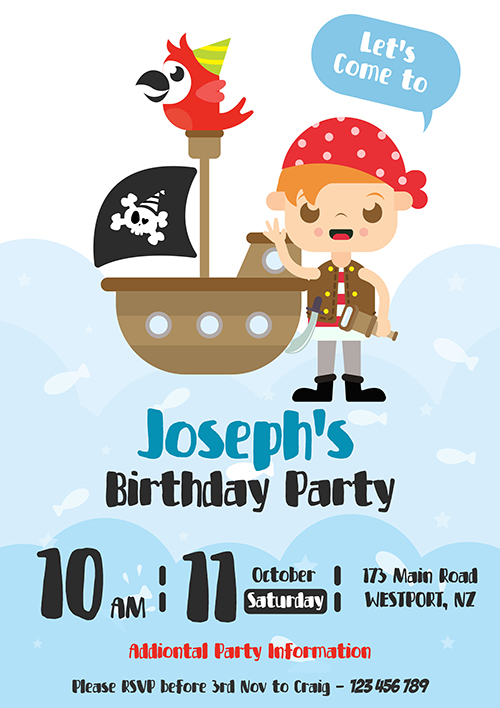 Boys Pirate Party Invitation