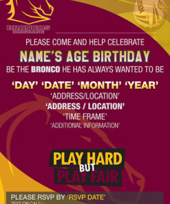 Brisbane Bronco Party Invitations