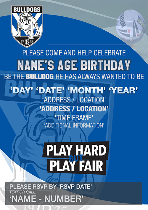 Canterbury-Bankstown Bulldogs Party Invitations