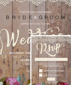 Rustic Wedding themed invitations
