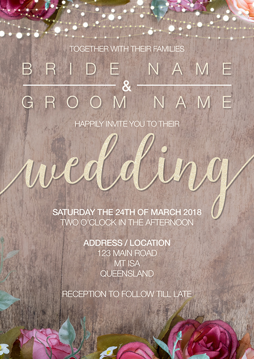 Rustic Wedding Invitation with RSVP