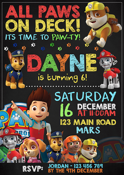 Paw Patrol Party Invitation