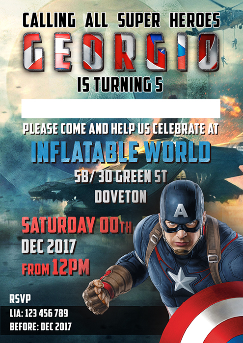 Captain America Birthday Invitation