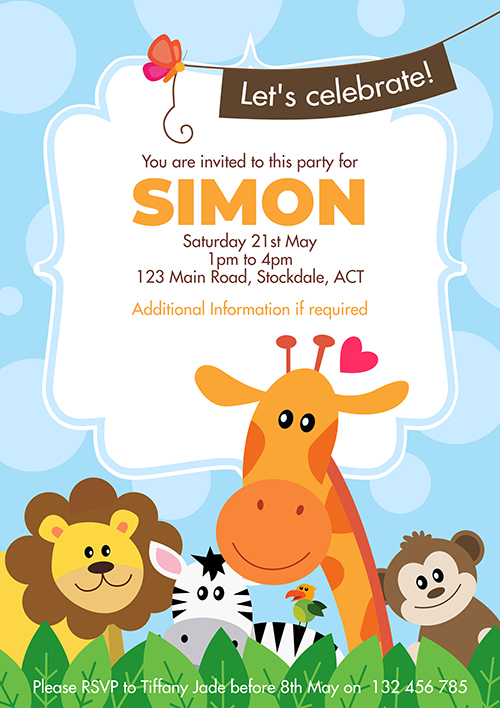 Cute Animal Invitation