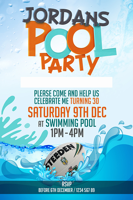 Sports Pool Party Invitation