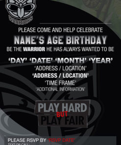 New Zealand Warriors Party Invitations