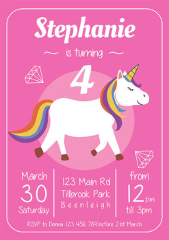 Pink Diamonds Unicorn Invitation
