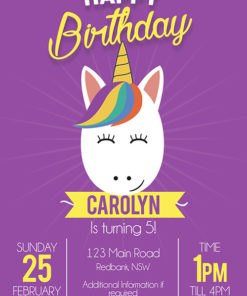 Purple Unicorn Face Invitation