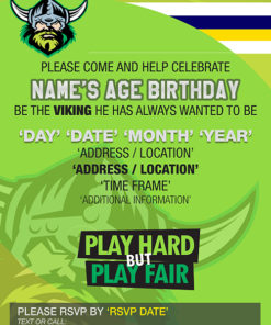 Canberra Raiders Party Invitations