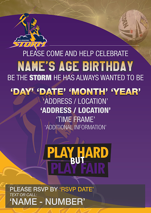 Melbourne Storm Party Invitations
