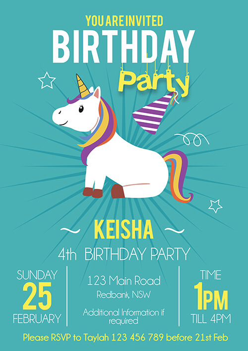 Magical Party Teal Unicorn Invitation