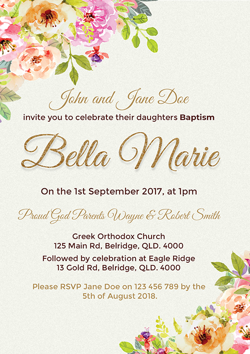 Floral Gold Baptism Invitation