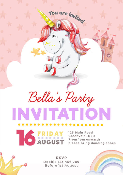 Unicorn Castle party Invitation