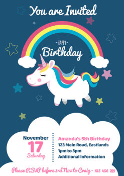 Rainbows and Stars Unicorn Invitation