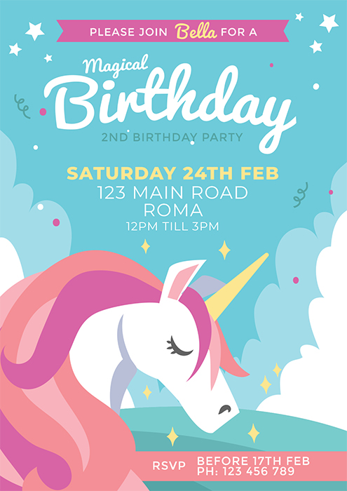 Unicorn Cute Blue party Invitation