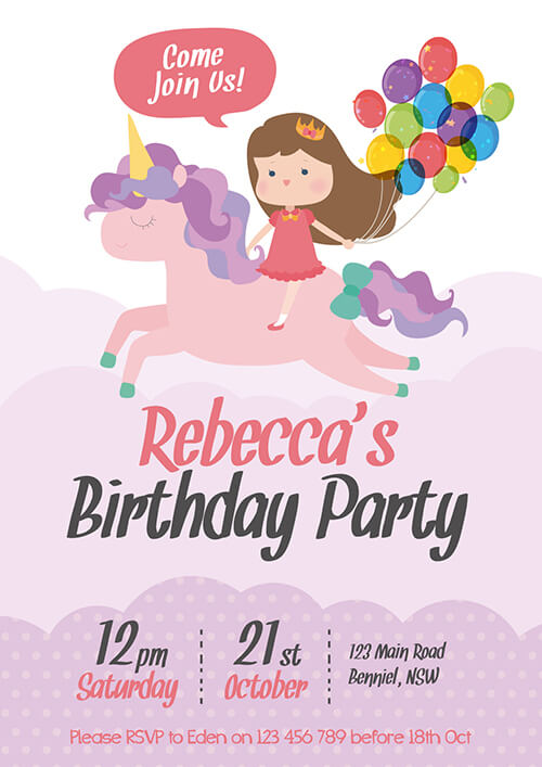 Unicorn Riding Invitation