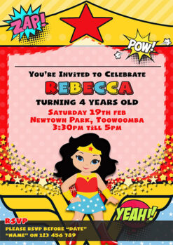 Wonder Woman Child Cartoon Invitation