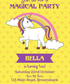 Yellow Hearts Unicorn Invitation