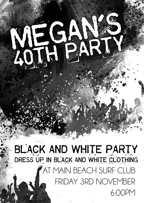 Black and White Grunge Invitation