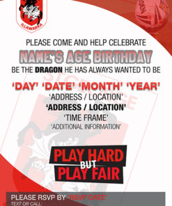 St. George Illawarra Dragons Party Invitations