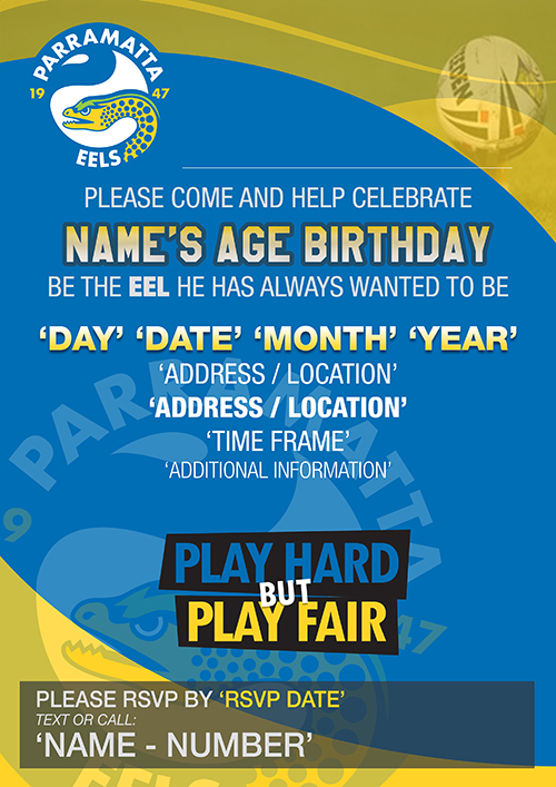 Parramatta Eels Party Invitations