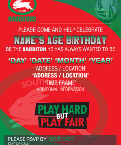 South Sydney Rabbitohs Party Invitations