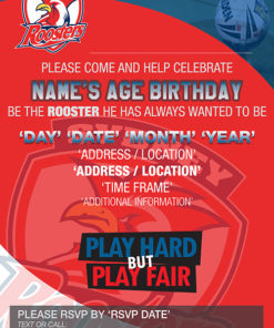 Sydney Roosters Party Invitations
