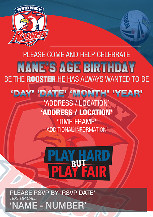 Nrl sydney roosters party invitations mixed design sydney roosters party invitations filmwisefo