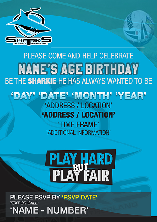 Cronulla Sharks Party Invitations