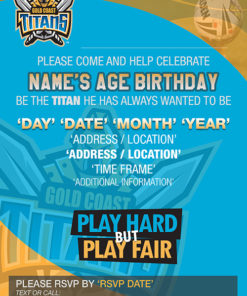 Gold Coast Titans Party Invitations