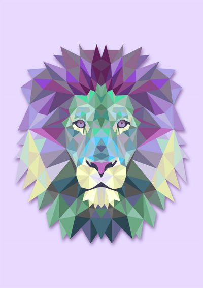 Polygonal Purple Lion Head