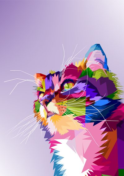 Poly PopArt - Cute Cat Head