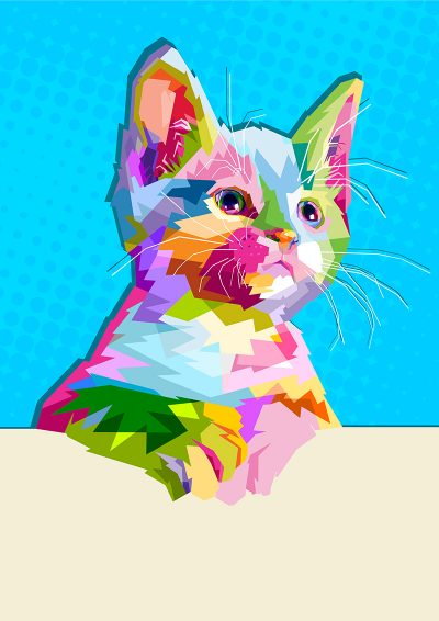 Poly PopArt - Cute Cat Wall