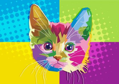 Poly PopArt - Colourful Cat Head