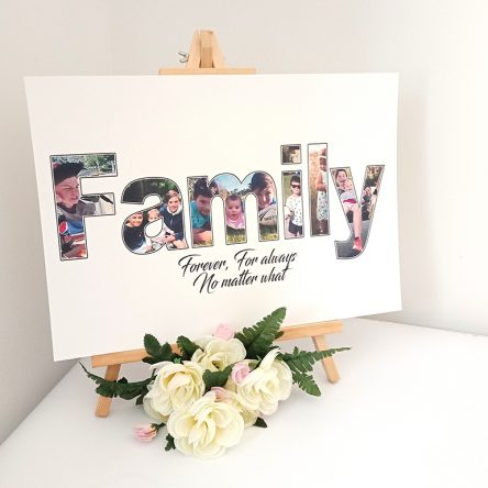 Personalised Photo Quote with Wooden Display A3 Print Easel