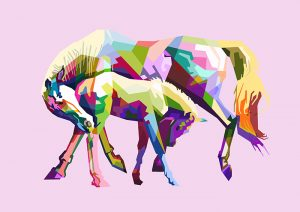 Poly PopArt - Horse in Love