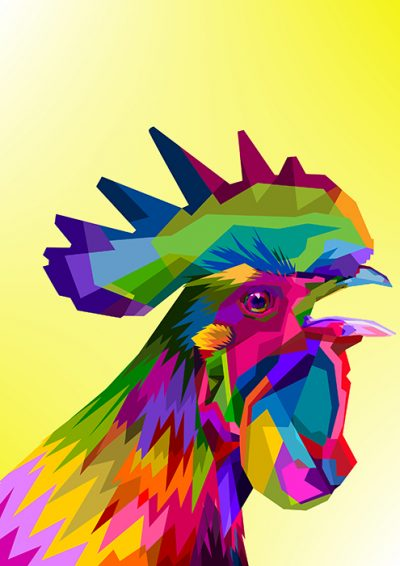 Poly PopArt - A Clucking Rooster
