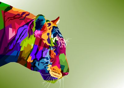 Poly PopArt - Tiger Head