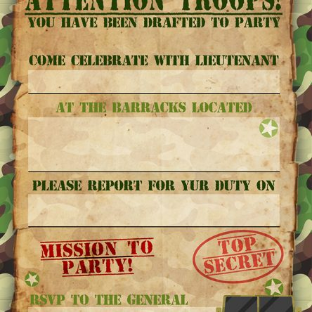 Write your own Army Invitations