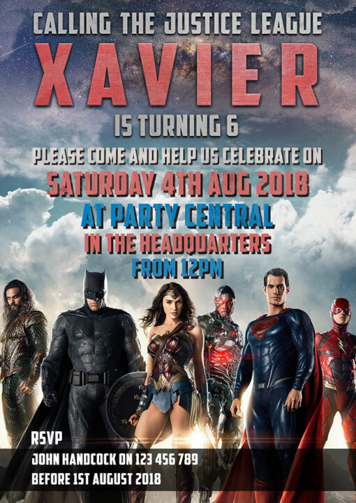 Justice League Birthday Invitation
