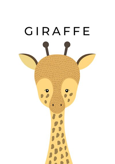 Hand Drawn Nursery Giraffe Print