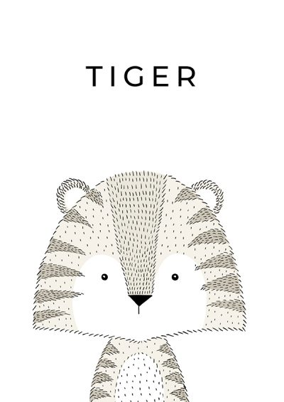 Hand Drawn Nursery Tiger Print