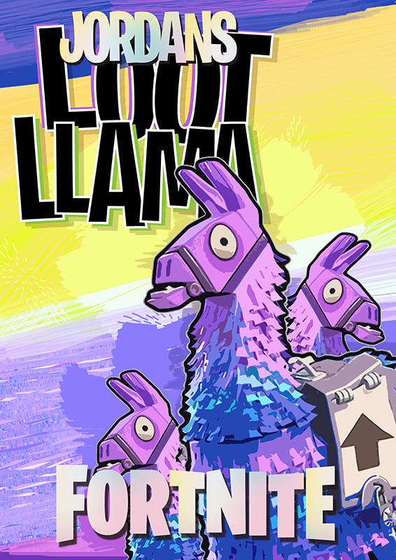 Fortnite LOOT LLAMA personalised poster | Loot Llama lovers! Get this personalised/Non-Personalised poster. Available in large sizes.