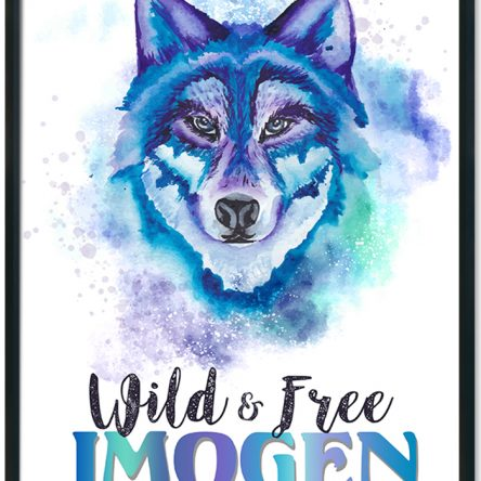 Water coloured wild and free wolf