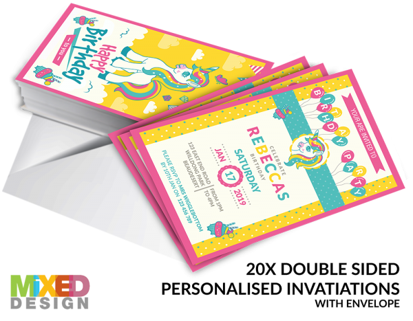 Unicorn Party Pack - Invitations
